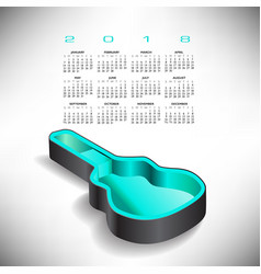 2018 guitar case music calendar vector