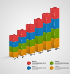 3D financial bar graph infographic or timeline vector