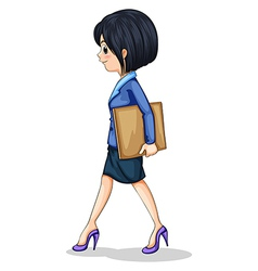 A businesswoman walking while holding vector