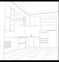 Abstract sketch design interior kitchen vector