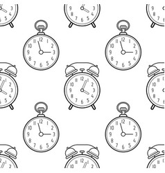 alarm clock and pocket watch black and white vector image
