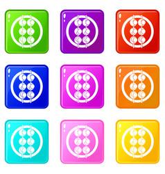 Asian shashlik icons 9 set vector
