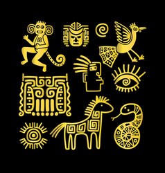 Aztec ancient animal golden symbols vector