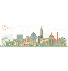 Bari italy city skyline with color buildings vector