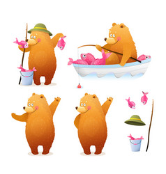 Bear fisherman fishing cartoon clipart for kids vector