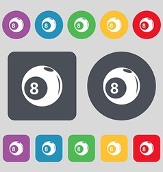 Billiards icon sign A set of 12 colored buttons vector image