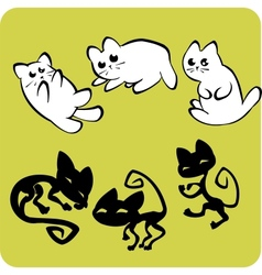 Black and White Cats - set vector image