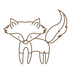 brown contour graphic of fox vector image