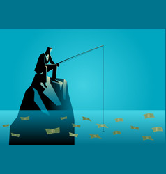 Businessman fishing for money vector