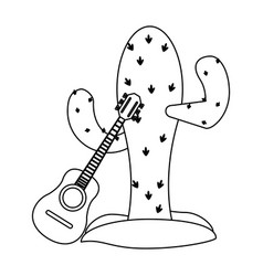 cactus and acoustic guitar in black and white vector image