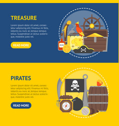 cartoon pirate signs banner horizontal set vector image
