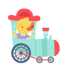 Cheerful red cheeked chicken driving toy wheeled vector