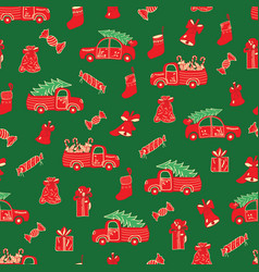 christmas trucks and gifts red and green pattern vector image