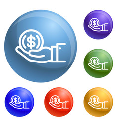 Coin in hand icons set vector