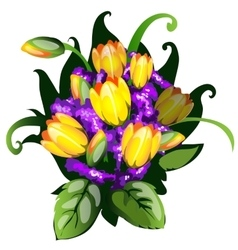 Colorful bouquet of yellow tulips vector image