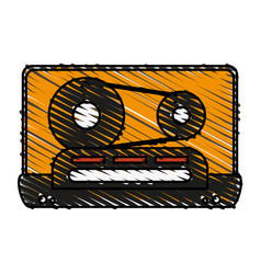 colorful crayon silhouette of tape cassette vector image