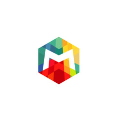 Colorful hexagon multicolor logo vector