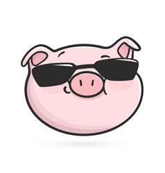 cool emoticon icon emoji pig in black sunglasses vector image