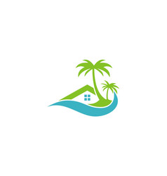 Cottage beach hotel logo vector