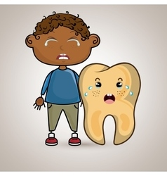 crying cartoon of a boy and a tooth with a vector image