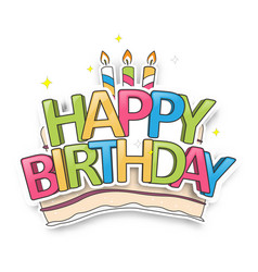 cute birthday card with happy birthday typography vector image