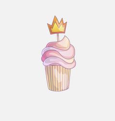 Cute cartoon little princess cupcake vector