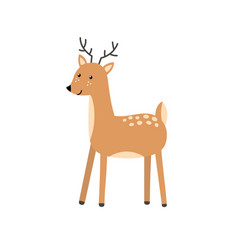 Cute deer character in cartoon style forest vector