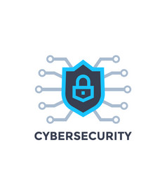 Cyber security logo with shield vector