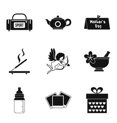 Dame welfare icons set simple style vector
