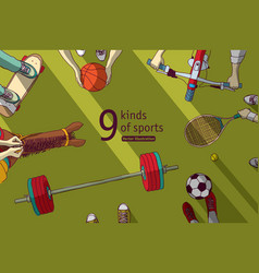 different sports and athletes set top view vector image