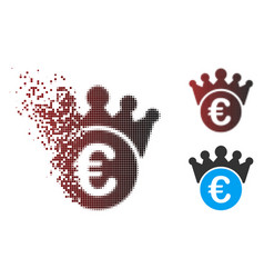 Dispersed pixel halftone euro crown icon vector