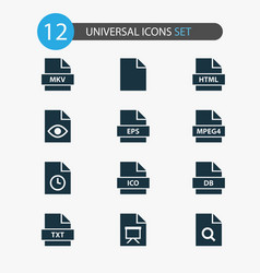 Document icons set with mpeg4 search temporary vector