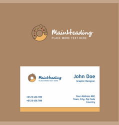doughnut logo design with business card template vector image