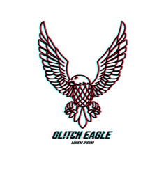 eagle sign with glitch effect design element for vector image