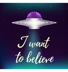 Fantastic background with UFO vector image
