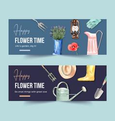 Flower garden banner design with garden tools vector