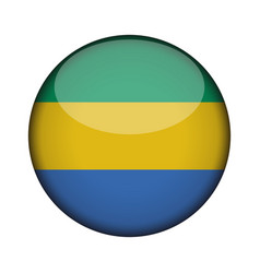gabon flag in glossy round button of icon gabon vector image