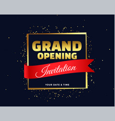 grand opening invitation banner in golden theme vector image