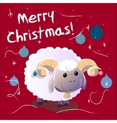 Greeting Card with sheep Text Merry Christmas and vector
