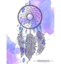 Hand drawn dream catcher with ornamental feathers vector