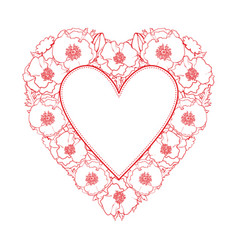 Hand drawn poppy heart shape frame vector