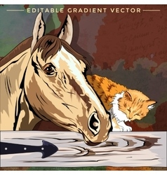 Kitten and Horse vector