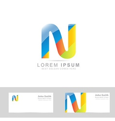 Letter N colored logo vector image
