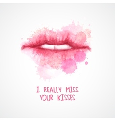 Lips painted in watercolor vector image
