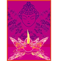 Lotus oil lamp with buddha vector