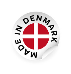 made in denmark sticker tag vector image