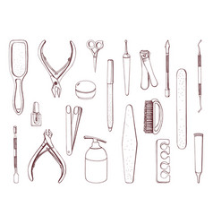 manicure equipment set hand drawn contour vector image