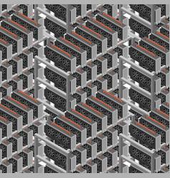Mining farm seamless pattern mining rig gpu vector