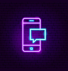 mobile message neon sign vector image