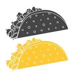 monochrome black and orange taco symbol vector image